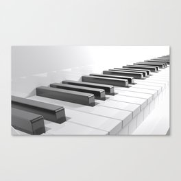 Keyboard of a white piano - 3D rendering Canvas Print