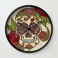 sugar skull Wall Clocks featuring Sugar Skull by Valentina Harper