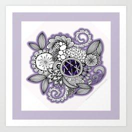 Pretty in Purple Zentangle Design Illustration Art Print