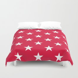Stars (White/Crimson) Duvet Cover