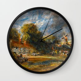 """John Constable """"Landscape with a Red-Tiled Cottage, a Windmill and a Rainbow"""" Wall Clock"""