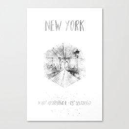 Coordinates NYC Brooklyn Bridge |watercolor monochrome Canvas Print