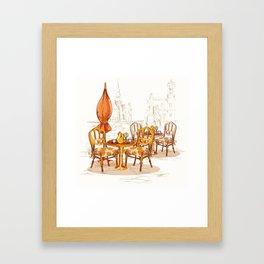 Street Cafe Sketch Framed Art Print