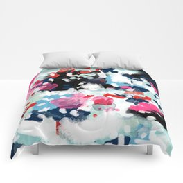 Aubrey - Abstract painting in bright colors pink navy white gold Comforters