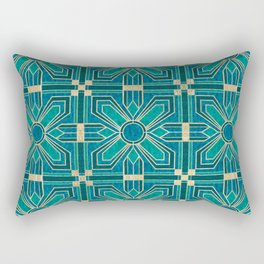 Art Deco Flowers in Teal and Faux Gold Rectangular Pillow