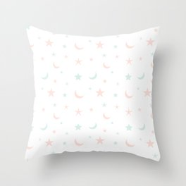Pink and blue moon and star pattern Throw Pillow