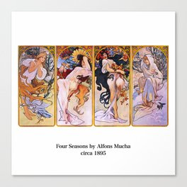 "Alfons Mucha, "" Four Seasons (1895)"" Canvas Print"