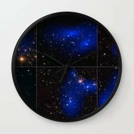 Hubble Space Telescope - Collage of six cluster collisions with dark matter maps Wall Clock