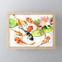 Koi Fish Pond, Feng Shui 9 koi fish art Framed Mini Art Print