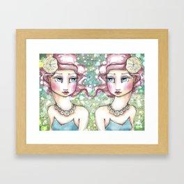 Twin Mermaids with Sand Dollars Framed Art Print