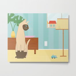 Siamese Cat And Mouse Metal Print