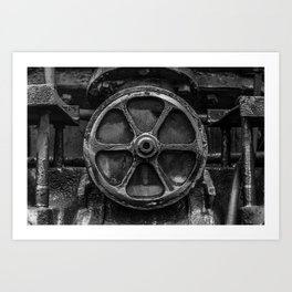 Trivial Pursuits Steam Train Detail Abstract Vintage Railroad Photography Black and White Art Print