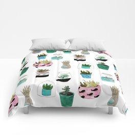 Lovely succulents Comforters