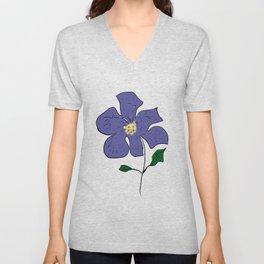 sketch of an indigo flower Unisex V-Neck
