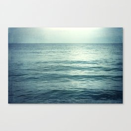 Seascape Photography, Teal Ocean Art, Dark Turquoise Minimal Sea Photo, Blue Ocean Coastal Print Canvas Print