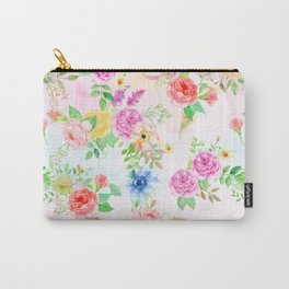 Watercolor Classic Rose Pattern Carry-All Pouch
