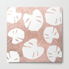 Tropical white monstera leaves on rose gold glitter ombre faux rose gold foil Metal Print