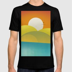 Chilaxing autumn on seaside LARGE Mens Fitted Tee Black
