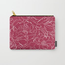 Modern fuchsia white hand drawn peonies floral Carry-All Pouch