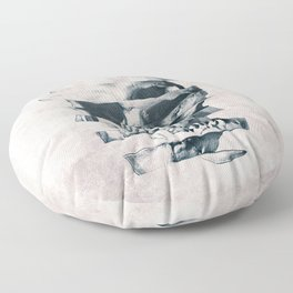Glitch Skull Mono Floor Pillow