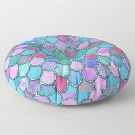 Colorful Teal Glitter Mermaid Scales Floor Pillow
