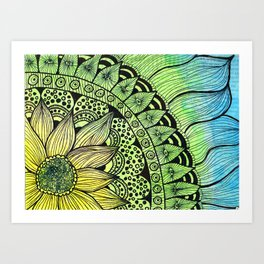 sunflower tangle Art Print