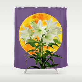 EASTER LILIES ON LILAC GOLDEN MOON ABSTRACT Shower Curtain