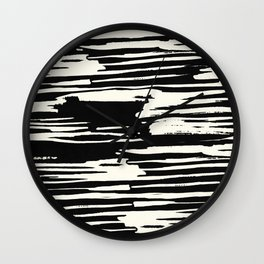 Modern Tribal Stripe Ivory and Black Wall Clock