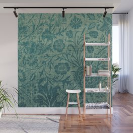 art Nouveau,teal,William Morris style, floral,chic,elegant,modern,trending,victorian decor,floral pa Wall Mural