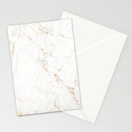 White Marble with Delicate Gold Veins Stationery Cards