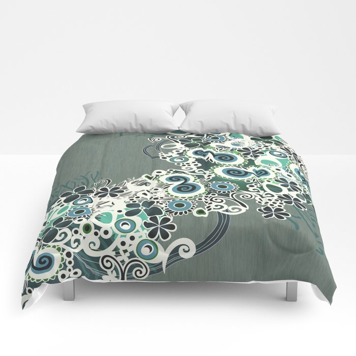 Diagonal flower – blue and green fiber Comforters