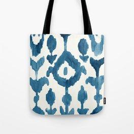 Painterly Flower Ikat Indigo Tote Bag