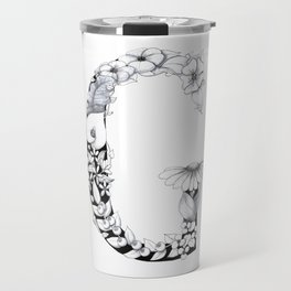 Floral Pen and Ink Letter G Travel Mug