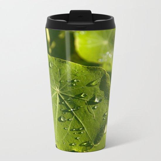 Rain drips on a nasturtium leaf Metal Travel Mug
