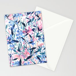 Wandering Wildflowers Blue Stationery Cards