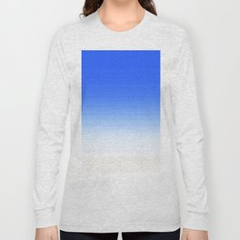 Sky Blue White Ombre Long Sleeve T-shirt