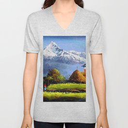 Panoramic View Of Beautiful Everest Mountain Unisex V-Neck