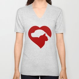 Pet Rescue Cat and Dog Red Heart of Love Unisex V-Neck