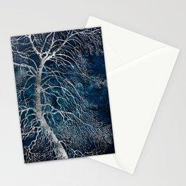Midnight Silver tree - Black Poplar Stationery Cards