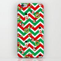 cartoons iPhone & iPod Skins featuring Festive Christmas Cartoons on Chevron Pattern by Kirsten Star