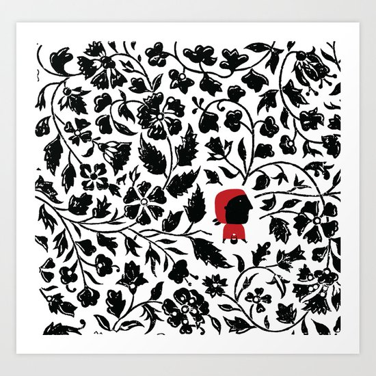 Little Red forest Art Print