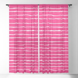 Bright Pink and White Stripes Sheer Curtain