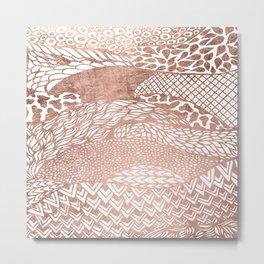 Modern stylish geometric rose gold pattern Metal Print