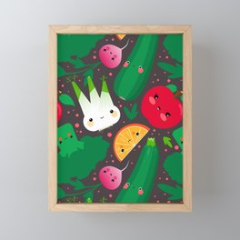Kawaii Illustration Pattern with Vegetables and Fruits like Zucchini, Apple, Orange and Fennel Framed Mini Art Print