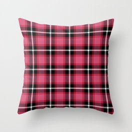 Honeysuckle pink color themed plaid SCOTTISH TARTAN Checkered Fabric Pattern background. Throw Pillow