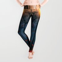 fall Leggings featuring Red feather dance  (colour option) by Viviana Gonzalez