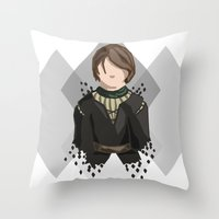 arya Throw Pillows featuring Arya Stark by itsamoose