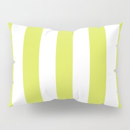 Maximum green yellow - solid color - white vertical lines pattern Pillow Sham