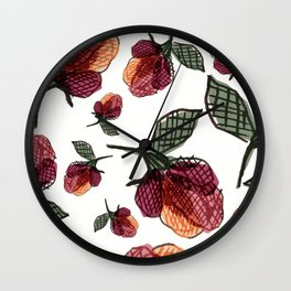 Prairie Rose Flower in Red and Orange Wall Clock