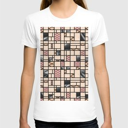 Modern Art Fishnets Skin and Leather Grid Pattern T-shirt